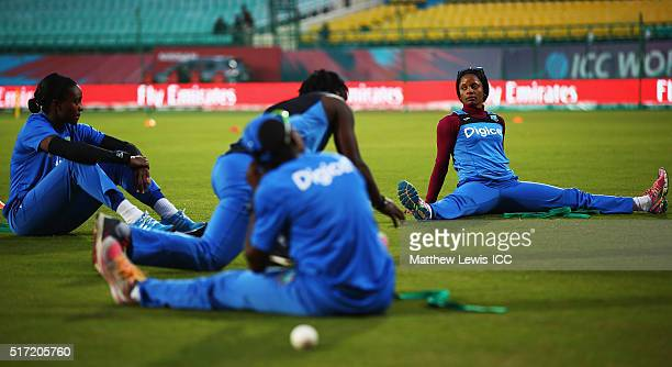 Merissa Aguilleira of the West Indies warms up ahead of the Women's ICC World Twenty20 India 2016 match between England and the West Indies at the...
