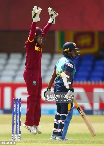 Merissa Aguilleira of West Indies appeal successfully for the wicket of Hasini Perera of Sri Lanka during the ICC Women's World Cup match between...