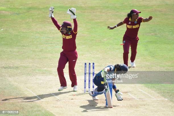 Merissa Aguilleira of West Indies appeals after stumping Prasadani Weerakkody of Sri Lanka during the ICC Women's World Cup 2017 match between West...