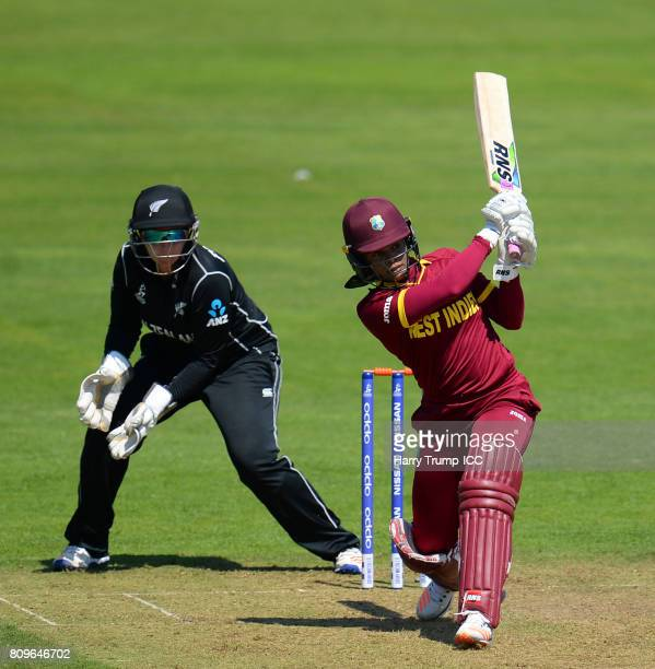 Merissa Aguilleira of West Indies bats during the ICC Women's World Cup 2017 match between New Zealand and the West Indies at The Cooper Associates...