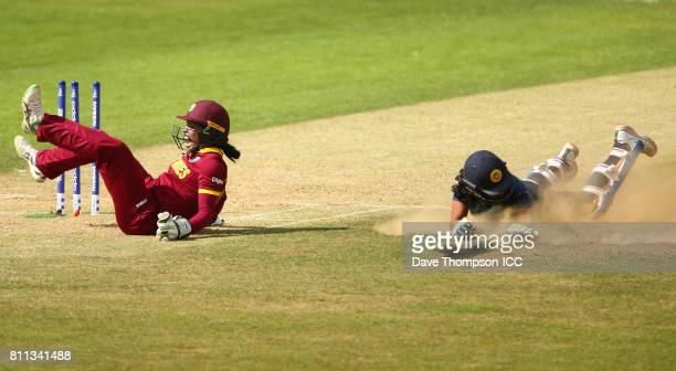 Merissa Aguilleira of West Indies celebrates after running out Prasadani Weerakkodi of Sri Lanka during the ICC Women's World Cup match between West...