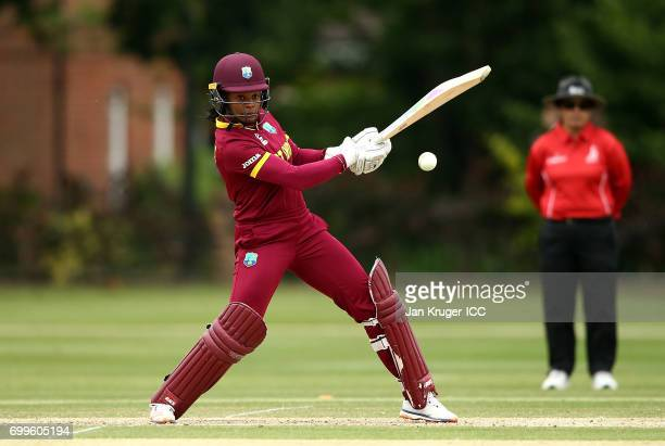 Merissa Aguilleira of West Indies hits out during the ICC Women's World Cup warm up match between West Indies and South Africa at Oakham School on...