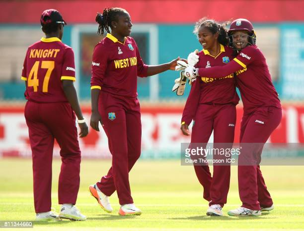 Merissa Aguilleira of West Indies hugs Afy Fletcher of West Indies at the end of the ICC Women's World Cup match between West Indies and Sri Lanka at...