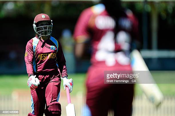 Merissa Aguilleira of West Indies leaves the field after being dismissed by Jess Cameron of Australia during the women's International Twenty20 match...
