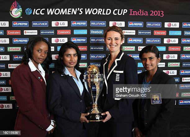 Merissa Aguilleira of West Indies Mithali Raj of India Charlotte Edwards of England and Shashikala Siriwardena of Sri Lanka with the ICC Womens World...
