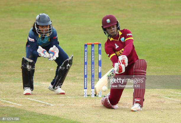 Merissa Aguilleira of West Indies plays a shot during the ICC Women's World Cup match between West Indies and Sri Lanka at The 3aaa County Ground on...