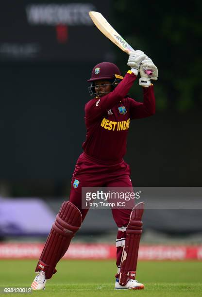 Merissa Aguilleira of West Indies Women bats during the ICC Women's World Cup Warm Up Match between West Indies Women and Pakistan Women at Grace...
