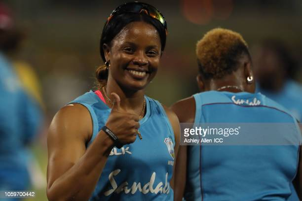 Merissa Aguilleira of Windies gives a thumbs up during a prematch warm ups at Providence Stadium on November 9 2018 in Providence Guyana