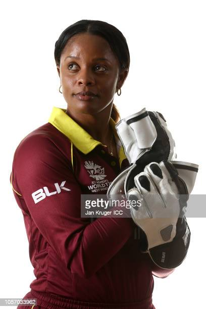 Merissa Aguilleira poses during the West Indies Portraits session ahead of the ICC Women's World T20 2018 tournament at St James's Club and Villas on...