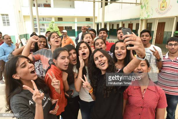 Meritorious students of St Josephs CoEd school celebrate their success in CBSE class10th exam results on May 29 2018 in Bhopal India Of the 16 lakh...