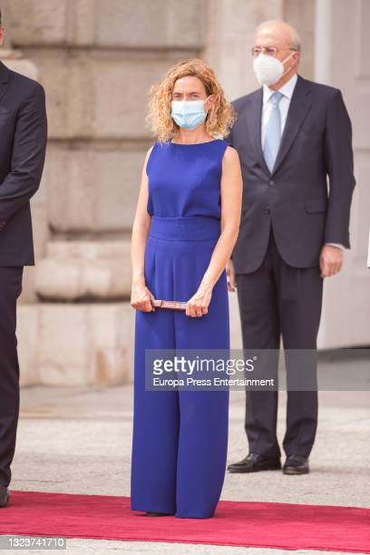 Meritxell Batet during the reception of the President of the Republic of Korea, Moon Jae-in, and his wife, Kim Jung-sook, upon their arrival in Spain...