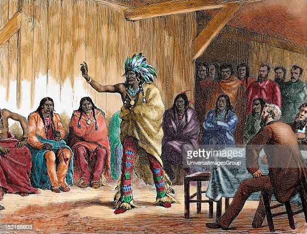 Meriwether Lewis American explorer The Grand Council of the Ravens at Fort Laramie in presence of Lewis Engraving by Guachard in 1881 Colored