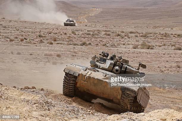 A Merkava III main battle tank in the Negev Desert, Israel.