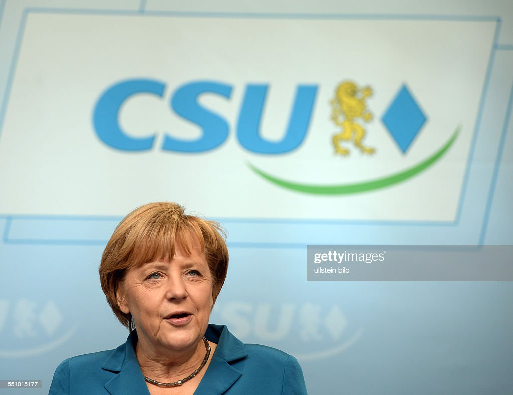 Merkel, Angela - D, German Chancellor, politician, CDU, Miesbach, Bavaria, September 11, 2013. : News Photo