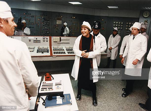 Merkel Angela Politician CDU Germany Federal Minister for the Environment Germany visiting the nuclear power station in Chernobyl Ukraine February...