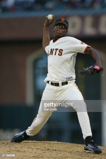 Merkin Valdez of the San Francisco Giants pitches during the MLB game against the St Louis Cardinals in his Major League debut at SBC Park on August...