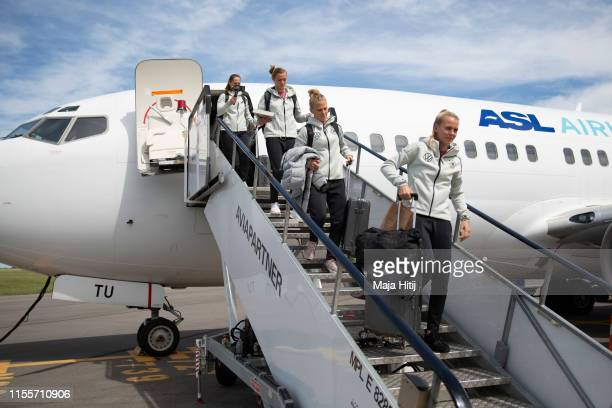 Merle Frohms Leonie Maier Alexandra Popp and Laura Benkarth of Germany arrive to the airport on June 13 2019 in Montpellier France