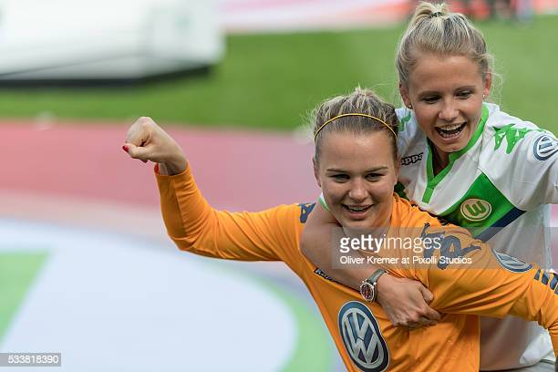 Merle Frohms of VFL Wolfsburg and Julia Simic of VFL Wolfsburg at Rhein Energie Stadion during the Women's DFB Cup Final 2016 match between SC Sand...