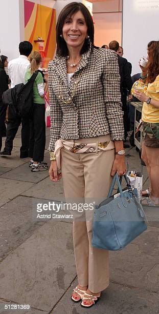 Merle Ginsburg poses for a picture during the Olympus Fashion Week Spring 2005 at Bryant Park September 9, 2004 in New York City.