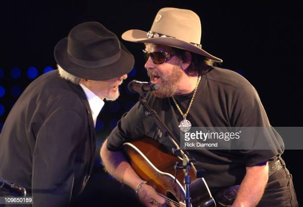 Merle Haggard and Hank Williams Jr during 54th Annual BMI Country Awards Show at BMI Offices in Nashville Tennessee United States