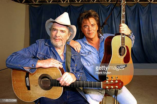 Merle Haggard and Marty Stuart on the set of the video shoot for Marty Stuart's 'Farmer's Blues'