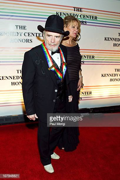 Merle Haggard and Theresa Ann Lane arrive at the 33rd Annual Kennedy Center Honors at the Kennedy Center Hall of States on December 5 2010 in...