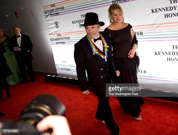 Merle Haggard and wife Theresa Ann Lane walk the red carpet at the Annual Kennedy Center Honors Gala in Washington DC on December 5 2010 President...