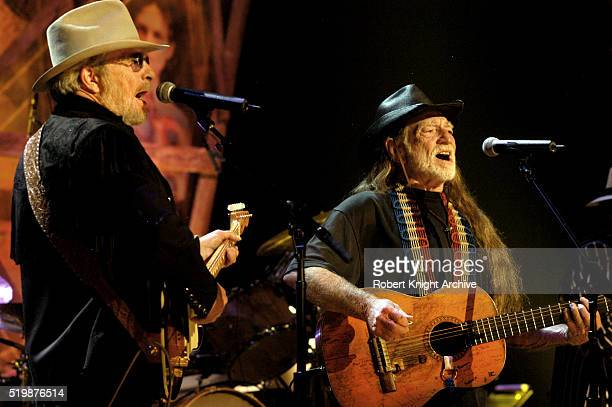 Merle Haggard and Willie Nelson perform on stage at the Wiltern Theatre, Los Angeles, California, United States, 5th May 2004.