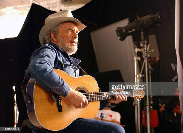 """Merle Haggard on the set of the video shoot for Marty Stuart's """"Farmer's Blues""""."""