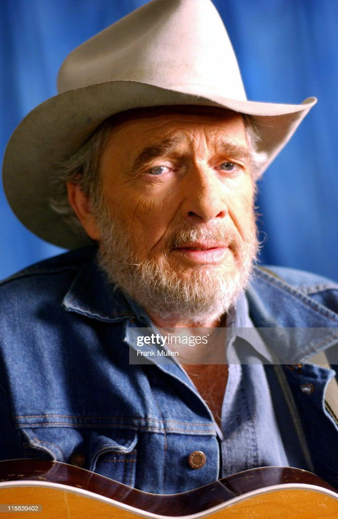 Merle Haggard on the set of the video shoot for Marty Stuart's 'Farmer's Blues'.
