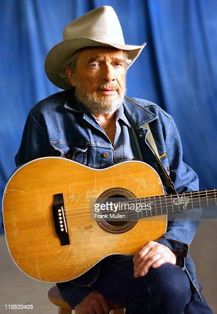 Merle Haggard on the set of the video shoot for Marty Stuart's 'Farmer's Blues'