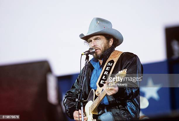 Merle Haggard performing at Farm Aid in Champaigne Illinois on September 22 1985