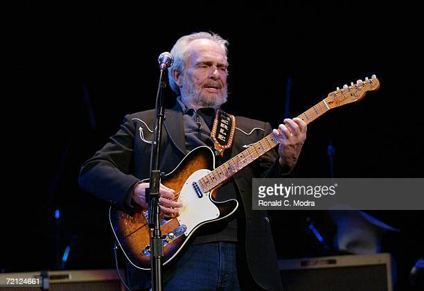 Merle Haggard performs at the Ryman Auditorium in 2004 in Nashville, Tennessee.