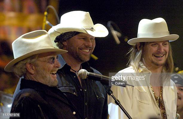 Merle Haggard Toby Keith and Kid Rock during Willie Nelson and Friends 'Outlaws Angels' Show and Backstage at Wiltern Theatre in Los Angeles...