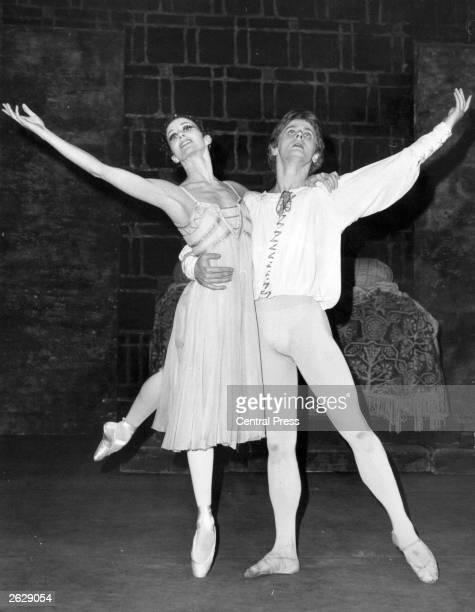Merle Park the ballerina as Juliet To Mikhail Baryshnikov's Romeo during rehearsals at the Royal Opera House Covent Garden Mikhail Baryshnikov...
