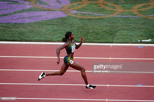 Merlene Ottey from Jamaica competes during the 1996 Olympic Games.