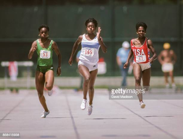 Merlene Ottey of Jamaica competes in the 1984 Kinney Invitational Track Meet on July 15, 1984 at Edwards Stadium at the University of California in...