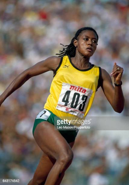 Merlene Ottey of Jamaica enroute to a bronze medal in the women's 200 metres event during the World Athletics Championship in Rome circa August 1987