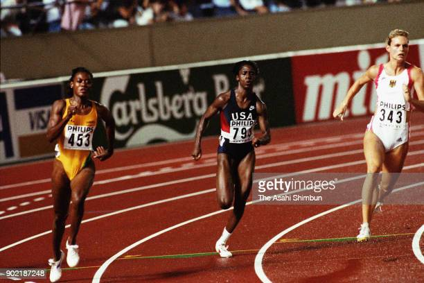 Merlene Ottey of Jamaica, Gwen Torrence of United States and Katrin Krabbe of Germany compete in the Women's 200m final during day eight of the World...