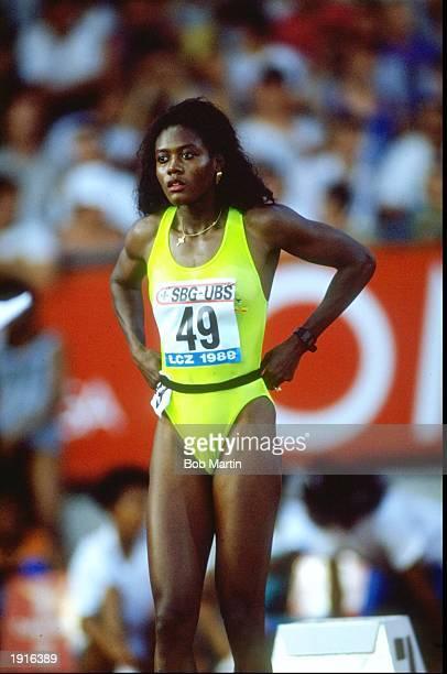Merlene Ottey of Jamaica prepares for a race at the IAAF Zurich Grand Prix in Zurich Switzerland Mandatory Credit Bob Martin/Allsport