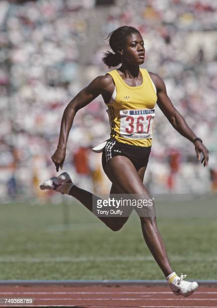 Merlene Ottey of Jamaica running in the Women's 100 metres final event during the XXIV Summer Olympic Games on 25 September 1988 at the Seoul Olympic...