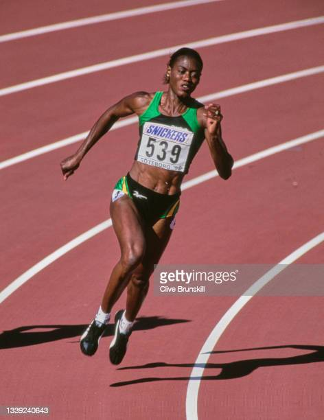 Merlene Ottey of Jamaica running in the Women's 200 metres event at the 5th International Association of Athletics Federations IAAF World...