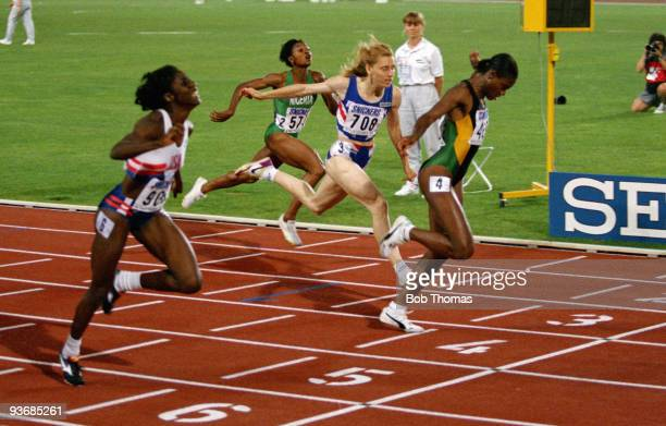 Merlene Ottey of Jamaica wins the women's 200m final at the 4th World Athletics Championships held in Stuttgart Germany August 1993
