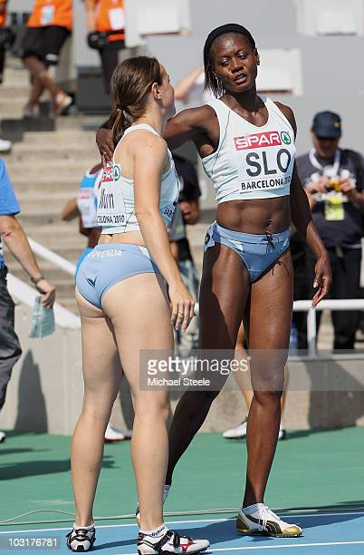 Merlene Ottey of Slovenia competes in the 4x100m Womens Relay Heats during day five of the 20th European Athletics Championships at the Olympic...