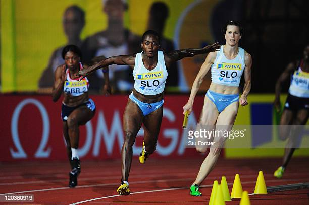 Merlene Ottey of Slovenia competes in the Womens 4 x 100m Relay during the Aviva London Grand Prix at Crystal Palace on August 5 2011 in London...