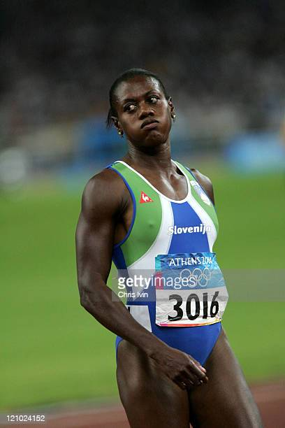 Merlene Ottey of Slovenia fails to qualify during the Women's 100m Semifinal at the Athens 2004 Olympic Games in Olympic Stadium on August 21 2004...