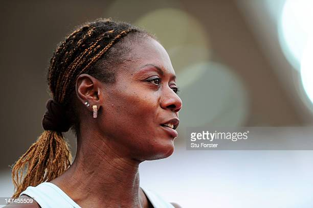 Merlene Ottey of Slovenia looks on during the Women's 4x100 Metres Relay Semi Finals during day four of the 21st European Athletics Championships at...