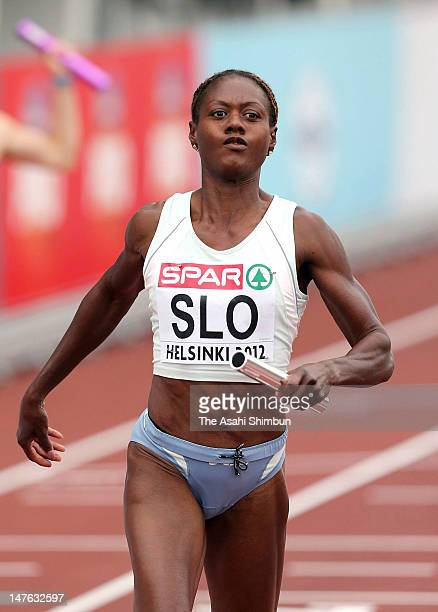 Merlene Ottey of Slovenia reacts after competing in the Women's 4x100 Metres Relay Semi Finals during day four of the 21st European Athletics...