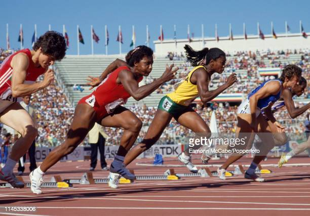 Merlene Ottey representing Jamaica powers out of the blocks in the Women's 100 metres heats during the IAAF World Championships at the Stadio...