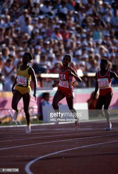 Merlene OtteyPage Evelyn Ashford Angela Bailey Women's Track 100 metres competition Memorial Coliseum at the 1984 Summer Olympics August 5 1984
